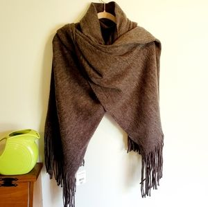 NWT Free People Kolby Brush Fringe Scarf Graphite